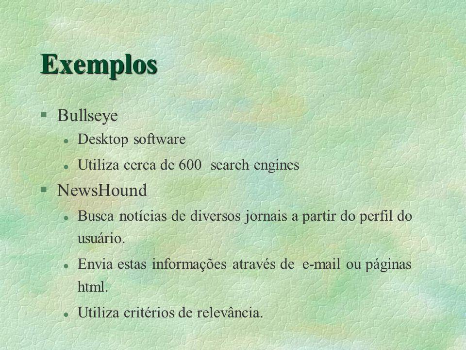 Exemplos §Bullseye l Desktop software l Utiliza cerca de 600 search engines §NewsHound l Busca notícias de diversos jornais a partir do perfil do usuário.