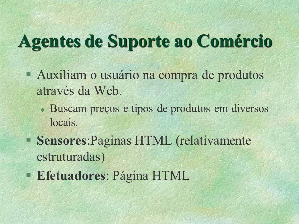 Agentes de Suporte ao Comércio §Auxiliam o usuário na compra de produtos através da Web.