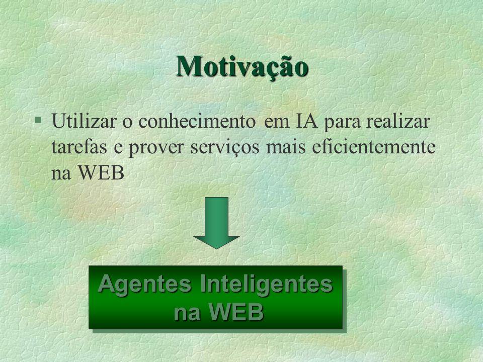 Motivação §Utilizar o conhecimento em IA para realizar tarefas e prover serviços mais eficientemente na WEB Agentes Inteligentes na WEB na WEB Agentes Inteligentes na WEB na WEB
