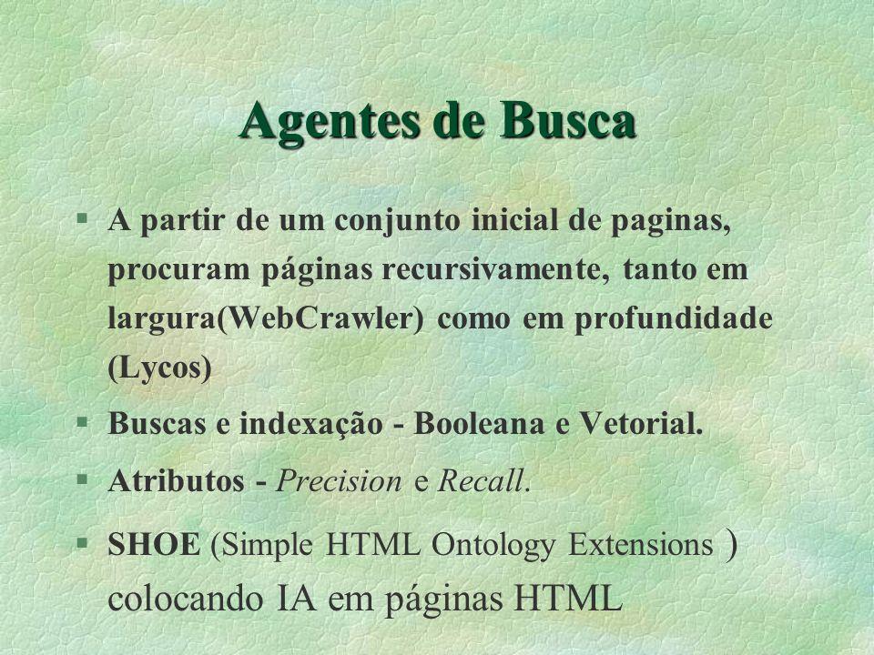 Agentes de Busca §A partir de um conjunto inicial de paginas, procuram páginas recursivamente, tanto em largura(WebCrawler) como em profundidade (Lycos) §Buscas e indexação - Booleana e Vetorial.