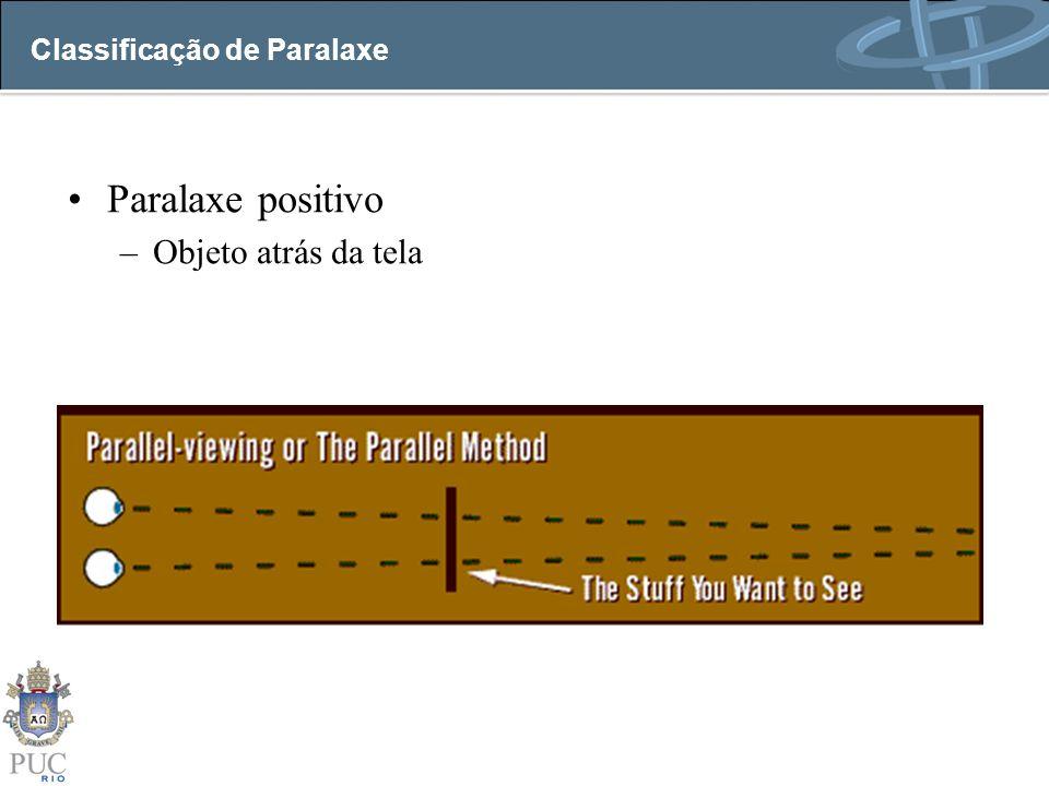 Classificação de Paralaxe Paralaxe positivo –Objeto atrás da tela