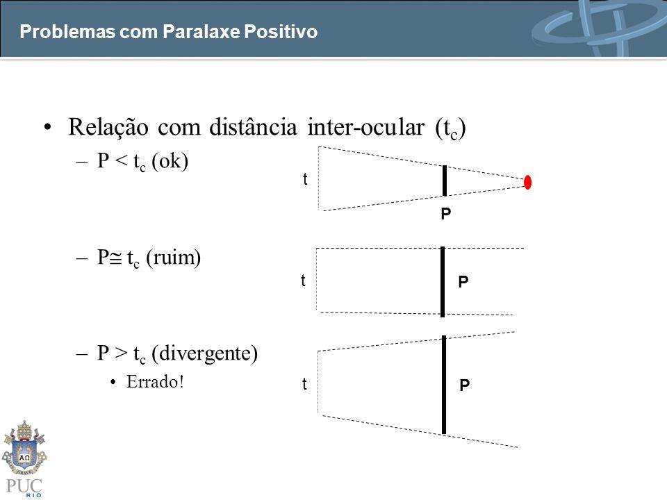 Problemas com Paralaxe Positivo Relação com distância inter-ocular (t c ) –P < t c (ok) –P t c (ruim) –P > t c (divergente) Errado.