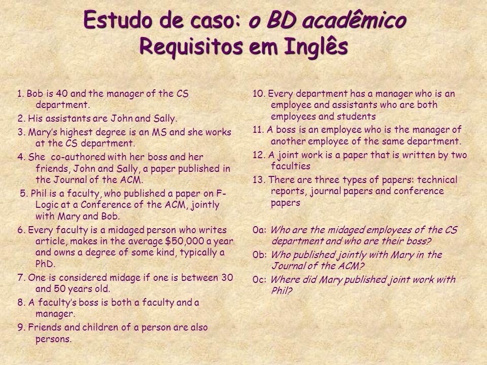 Estudo de caso: o BD acadêmico Requisitos em Inglês 1. Bob is 40 and the manager of the CS department. 2. His assistants are John and Sally. 3. Marys