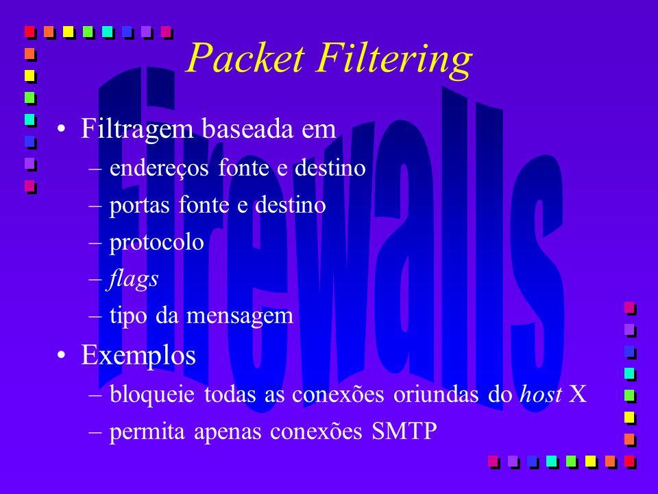 Packet Filtering Filtragem baseada em –endereços fonte e destino –portas fonte e destino –protocolo –flags –tipo da mensagem Exemplos –bloqueie todas
