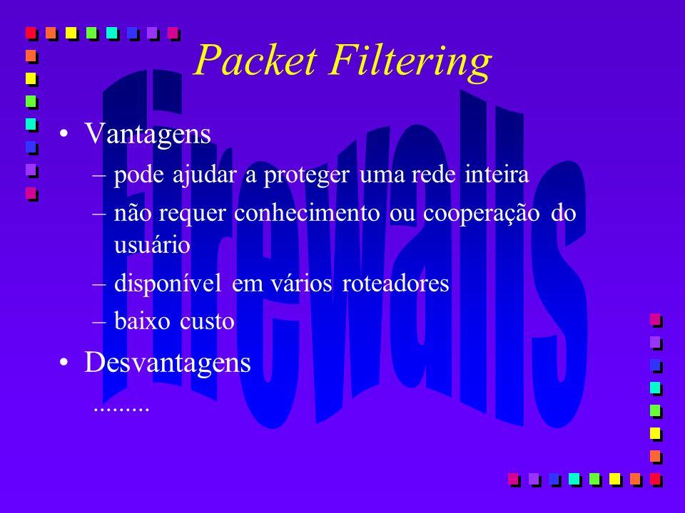 Packet Filtering Vantagens –pode ajudar a proteger uma rede inteira –não requer conhecimento ou cooperação do usuário –disponível em vários roteadores