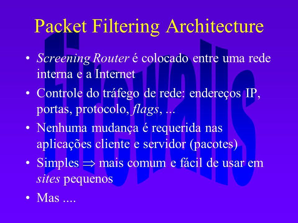 Packet Filtering Architecture Screening Router é colocado entre uma rede interna e a Internet Controle do tráfego de rede: endereços IP, portas, proto