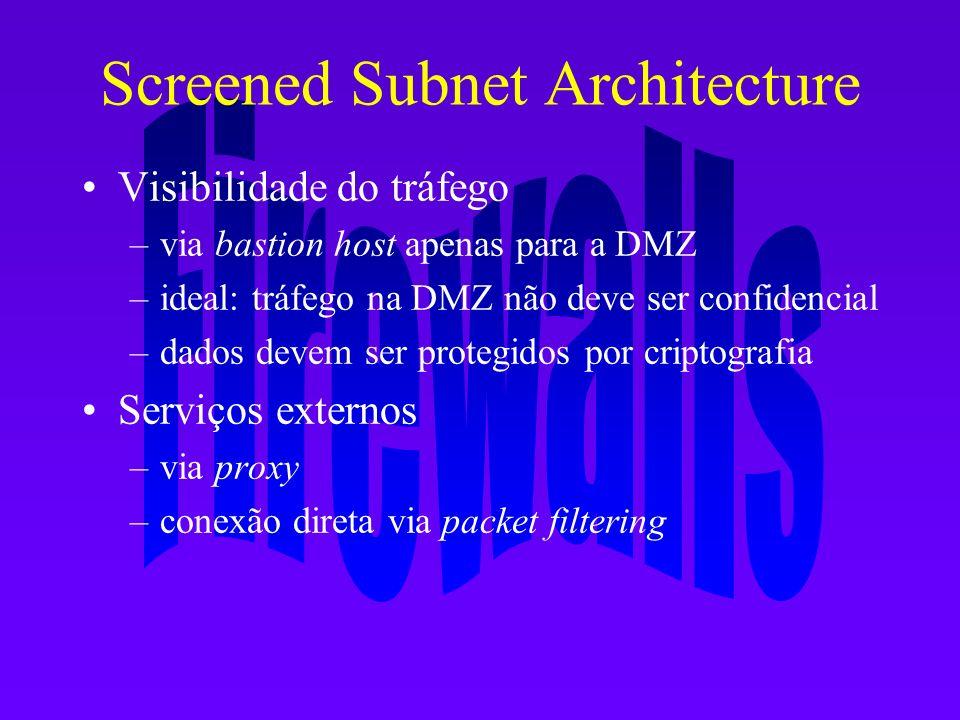 Screened Subnet Architecture Visibilidade do tráfego –via bastion host apenas para a DMZ –ideal: tráfego na DMZ não deve ser confidencial –dados devem