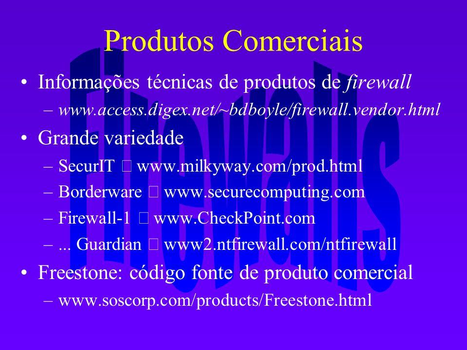 Produtos Comerciais Informações técnicas de produtos de firewall –www.access.digex.net/~bdboyle/firewall.vendor.html Grande variedade –SecurIT www.mil