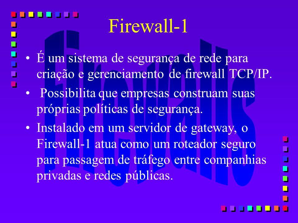 Firewall-1 É um sistema de segurança de rede para criação e gerenciamento de firewall TCP/IP. Possibilita que empresas construam suas próprias polític