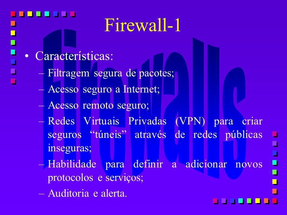 Firewall-1 Características: –Filtragem segura de pacotes; –Acesso seguro a Internet; –Acesso remoto seguro; –Redes Virtuais Privadas (VPN) para criar