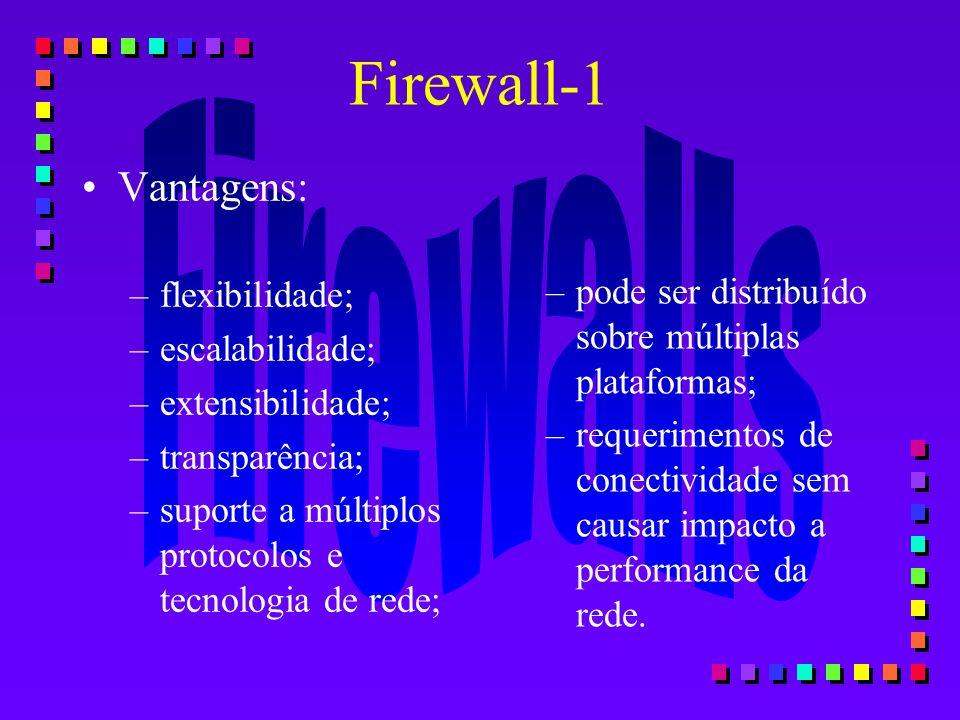 Firewall-1 Vantagens: –flexibilidade; –escalabilidade; –extensibilidade; –transparência; –suporte a múltiplos protocolos e tecnologia de rede; –pode s
