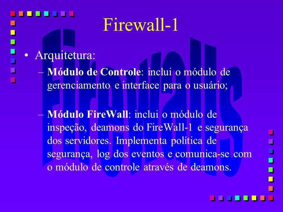 Firewall-1 Arquitetura: –Módulo de Controle: inclui o módulo de gerenciamento e interface para o usuário; –Módulo FireWall: inclui o módulo de inspeçã