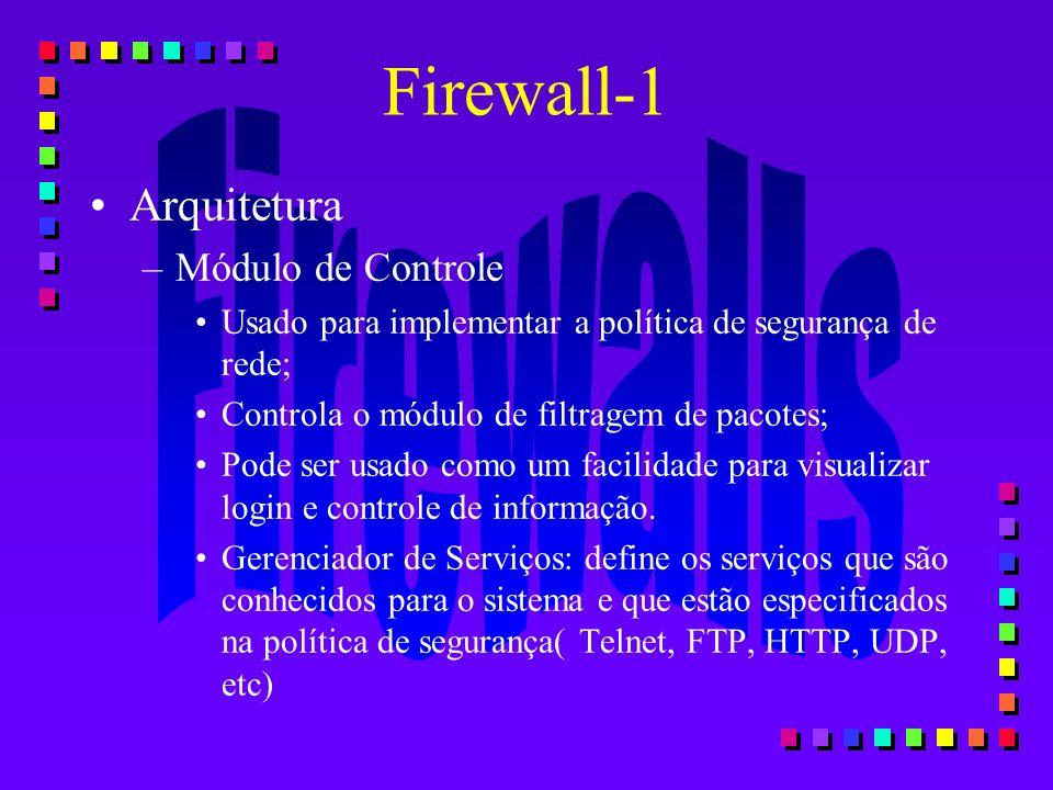 Arquitetura –Módulo de Controle Usado para implementar a política de segurança de rede; Controla o módulo de filtragem de pacotes; Pode ser usado como