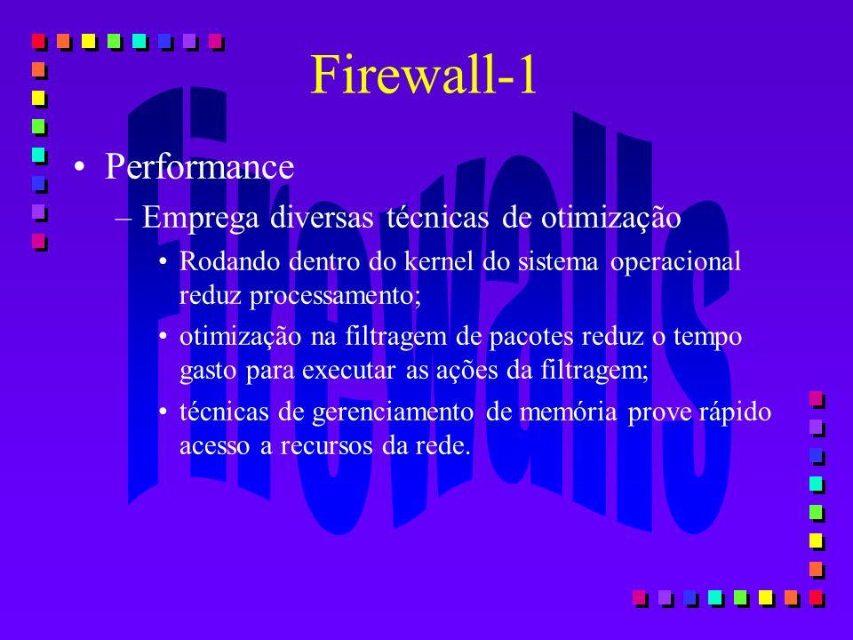 Performance –Emprega diversas técnicas de otimização Rodando dentro do kernel do sistema operacional reduz processamento; otimização na filtragem de p