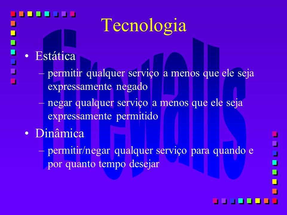 Tecnologia Estática –permitir qualquer serviço a menos que ele seja expressamente negado –negar qualquer serviço a menos que ele seja expressamente pe