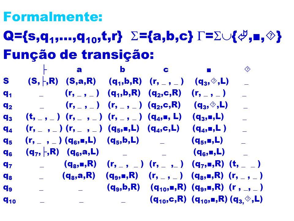 Formalmente: Q={s,q 1,…,q 10,t,r} ={a,b,c} = {,, } Função de transição: a b c S (S,,R) (S,a,R) (q 1,b,R) (r, _, _ ) (q 3,,L) _ q 1 _ (r, _, _ ) (q 1,b
