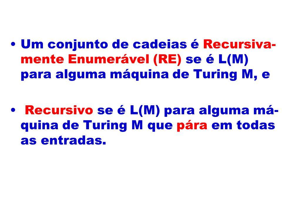 Um conjunto de cadeias é Recursiva- mente Enumerável (RE) se é L(M) para alguma máquina de Turing M, e Recursivo se é L(M) para alguma má- quina de Tu