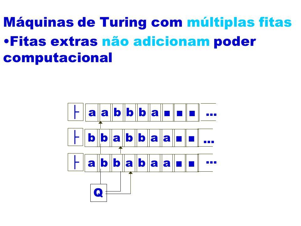Máquinas de Turing com múltiplas fitas Fitas extras não adicionam poder computacional aabbba bbabbaa abbabaa Q...