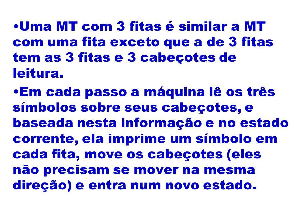 Uma MT com 3 fitas é similar a MT com uma fita exceto que a de 3 fitas tem as 3 fitas e 3 cabeçotes de leitura. Em cada passo a máquina lê os três sím