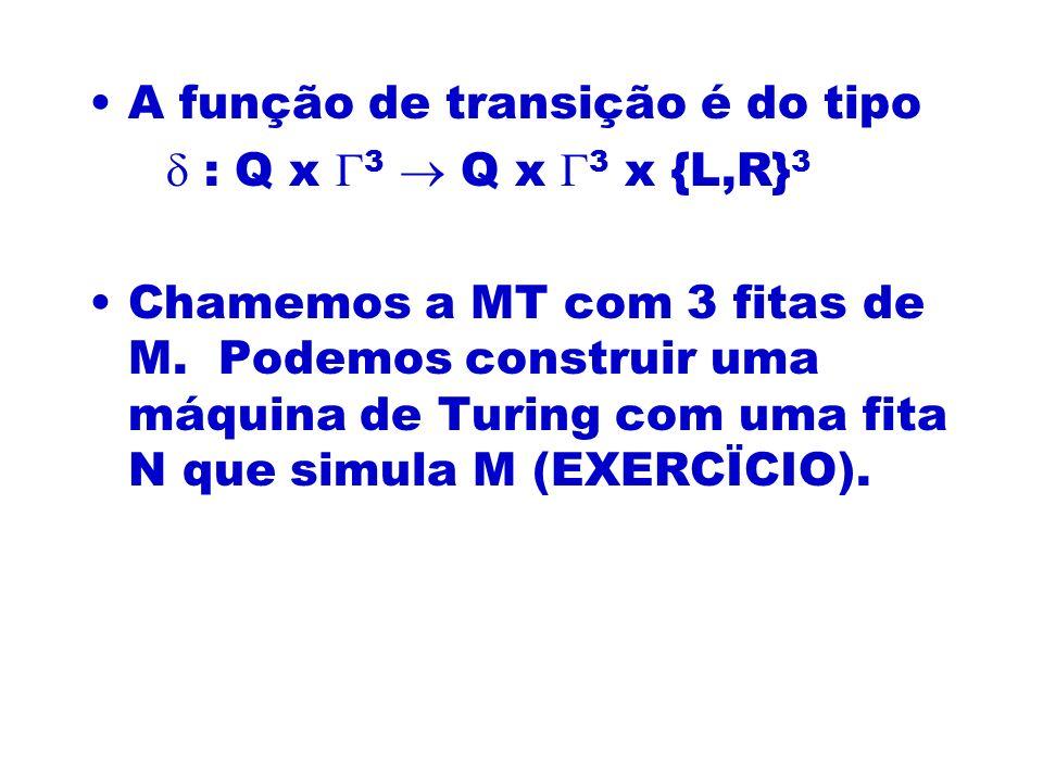 A função de transição é do tipo : Q x 3 Q x 3 x {L,R} 3 Chamemos a MT com 3 fitas de M. Podemos construir uma máquina de Turing com uma fita N que sim