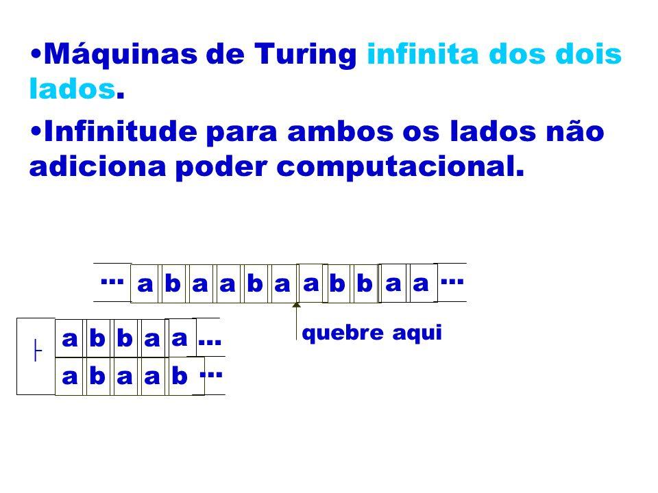 Máquinas de Turing infinita dos dois lados. Infinitude para ambos os lados não adiciona poder computacional. abaaba a bb aa... quebre aqui abba a abaa