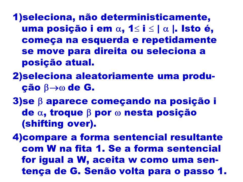 1)seleciona, não deterministicamente, uma posição i em, 1 i | |. Isto é, começa na esquerda e repetidamente se move para direita ou seleciona a posiçã