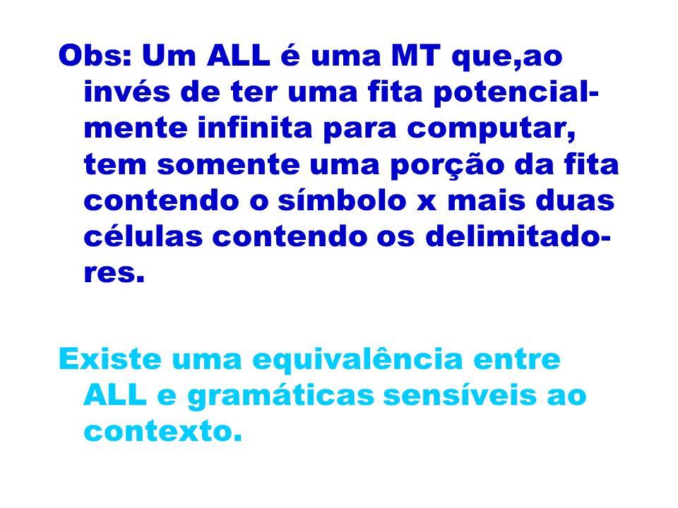 Obs: Um ALL é uma MT que,ao invés de ter uma fita potencial- mente infinita para computar, tem somente uma porção da fita contendo o símbolo x mais du