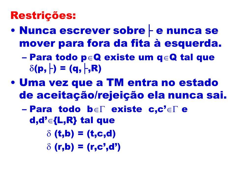 Restrições: Nunca escrever sobre e nunca se mover para fora da fita à esquerda. –Para todo p Q existe um q Q tal que (p,) = (q,,R) Uma vez que a TM en
