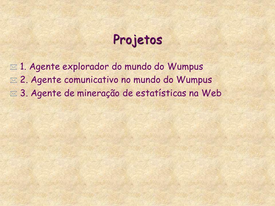 Projetos * 1. Agente explorador do mundo do Wumpus * 2. Agente comunicativo no mundo do Wumpus * 3. Agente de mineração de estatísticas na Web