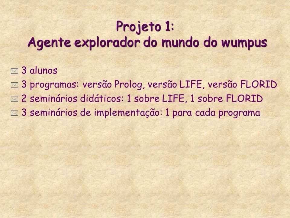 Projeto 1: Agente explorador do mundo do wumpus * 3 alunos * 3 programas: versão Prolog, versão LIFE, versão FLORID * 2 seminários didáticos: 1 sobre