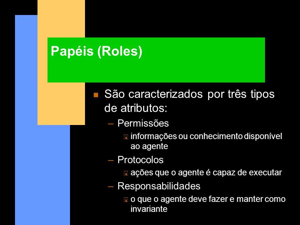 Papéis (Roles) n São caracterizados por três tipos de atributos: –Permissões < informações ou conhecimento disponível ao agente –Protocolos < ações qu