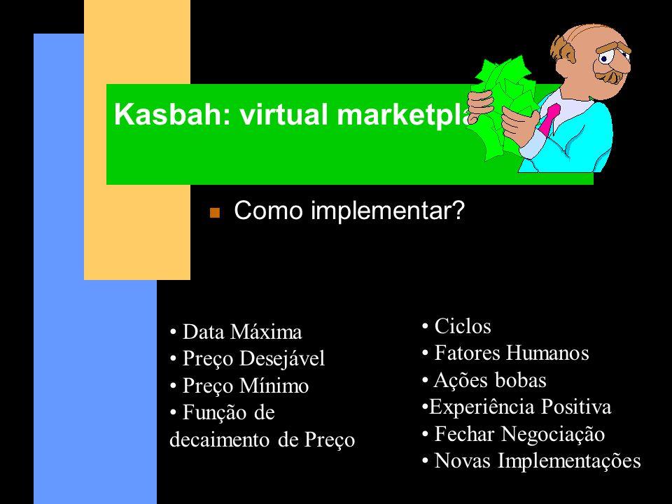Kasbah: virtual marketplace n Como implementar? Data Máxima Preço Desejável Preço Mínimo Função de decaimento de Preço Ciclos Fatores Humanos Ações bo