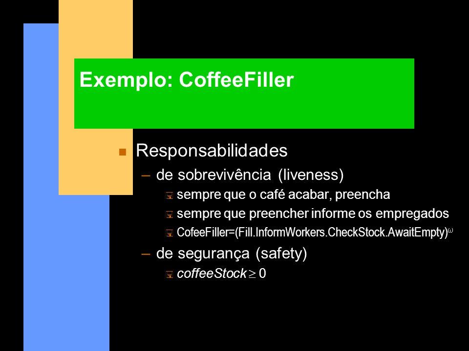 Exemplo: CoffeeFiller n Responsabilidades –de sobrevivência (liveness) < sempre que o café acabar, preencha sempre que preencher informe os empregados