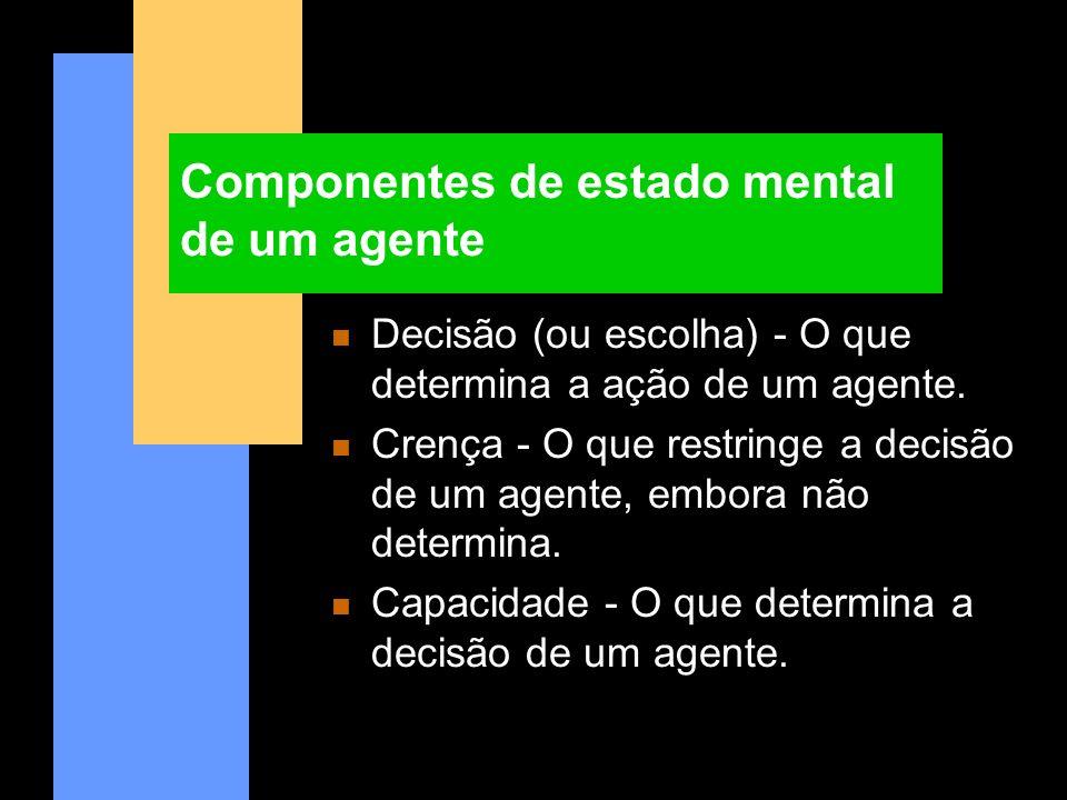 Componentes de estado mental de um agente n Decisão (ou escolha) - O que determina a ação de um agente. n Crença - O que restringe a decisão de um age