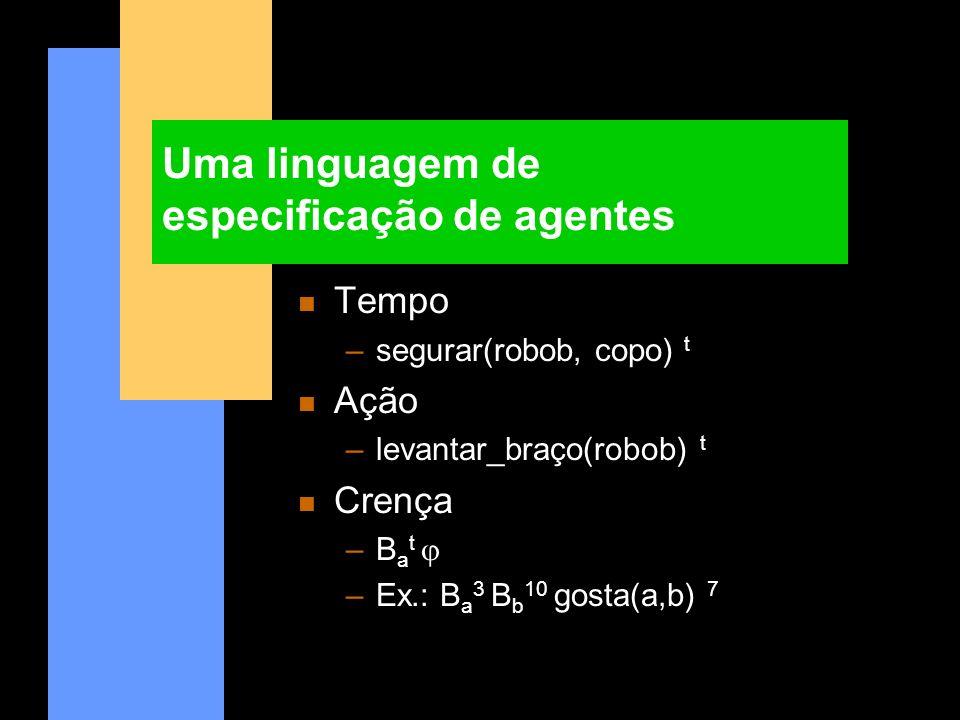 Uma linguagem de especificação de agentes n Tempo –segurar(robob, copo) t n Ação –levantar_braço(robob) t n Crença –B a t –Ex.: B a 3 B b 10 gosta(a,b