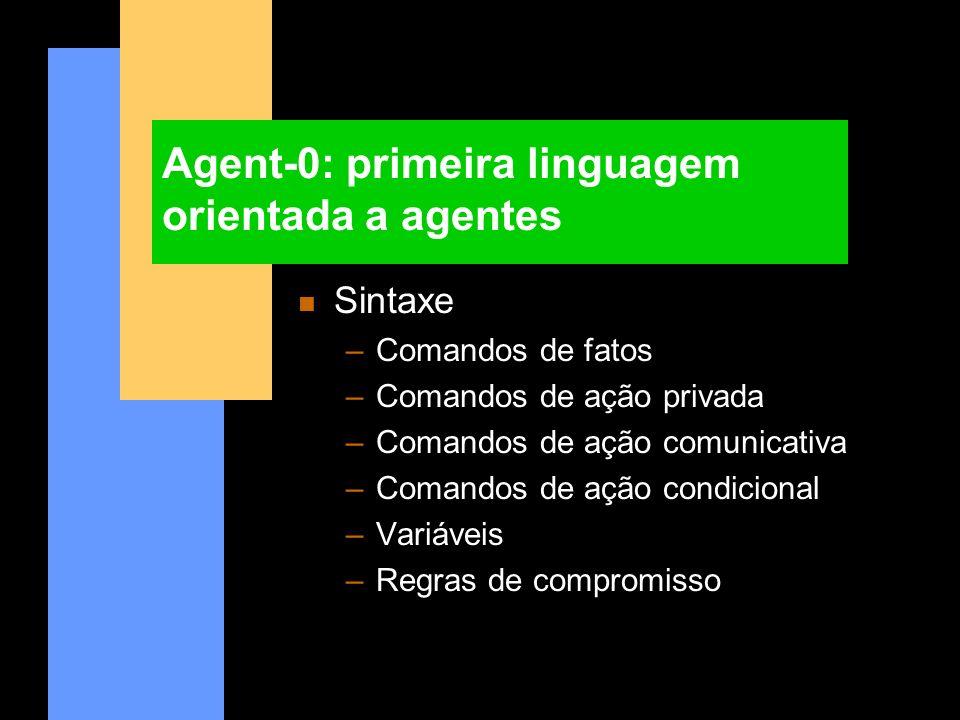 Agent-0: primeira linguagem orientada a agentes n Sintaxe –Comandos de fatos –Comandos de ação privada –Comandos de ação comunicativa –Comandos de açã
