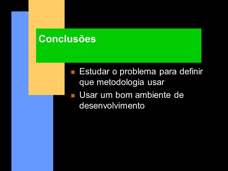 Conclusões n Estudar o problema para definir que metodologia usar n Usar um bom ambiente de desenvolvimento