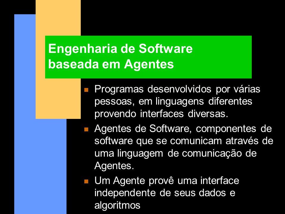 Engenharia de Software baseada em Agentes n Programas desenvolvidos por várias pessoas, em linguagens diferentes provendo interfaces diversas. n Agent