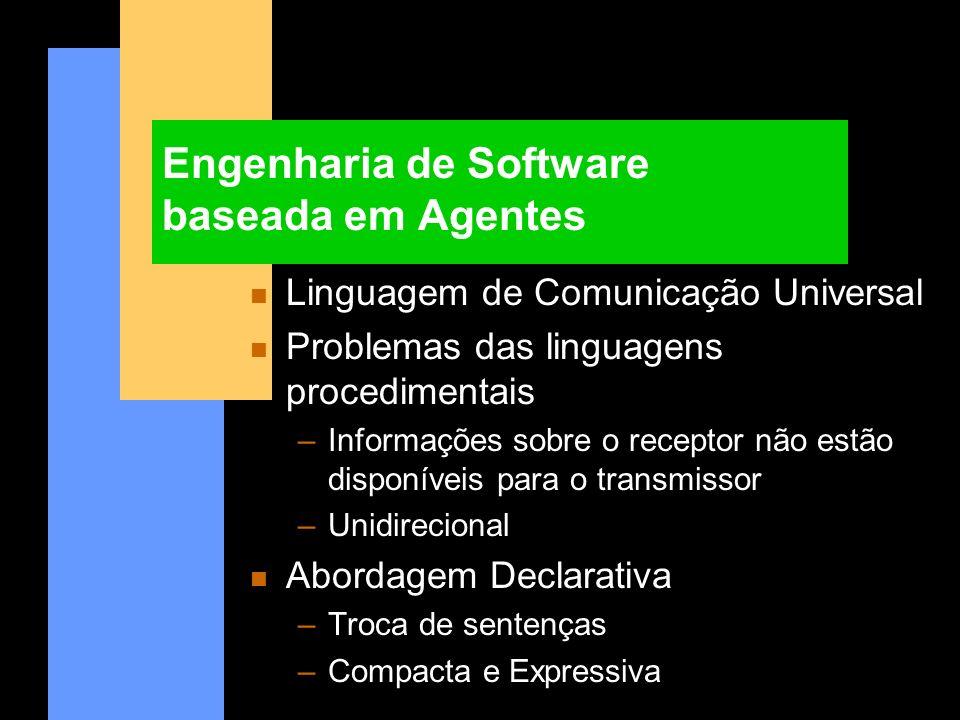 Engenharia de Software baseada em Agentes n Linguagem de Comunicação Universal n Problemas das linguagens procedimentais –Informações sobre o receptor