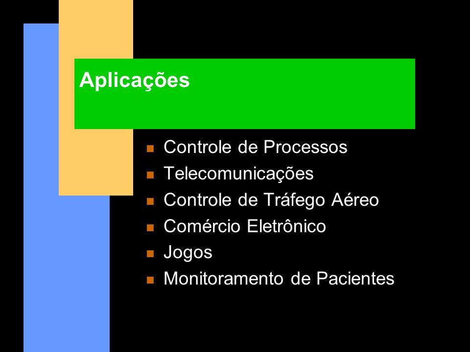 Aplicações n Controle de Processos n Telecomunicações n Controle de Tráfego Aéreo n Comércio Eletrônico n Jogos n Monitoramento de Pacientes
