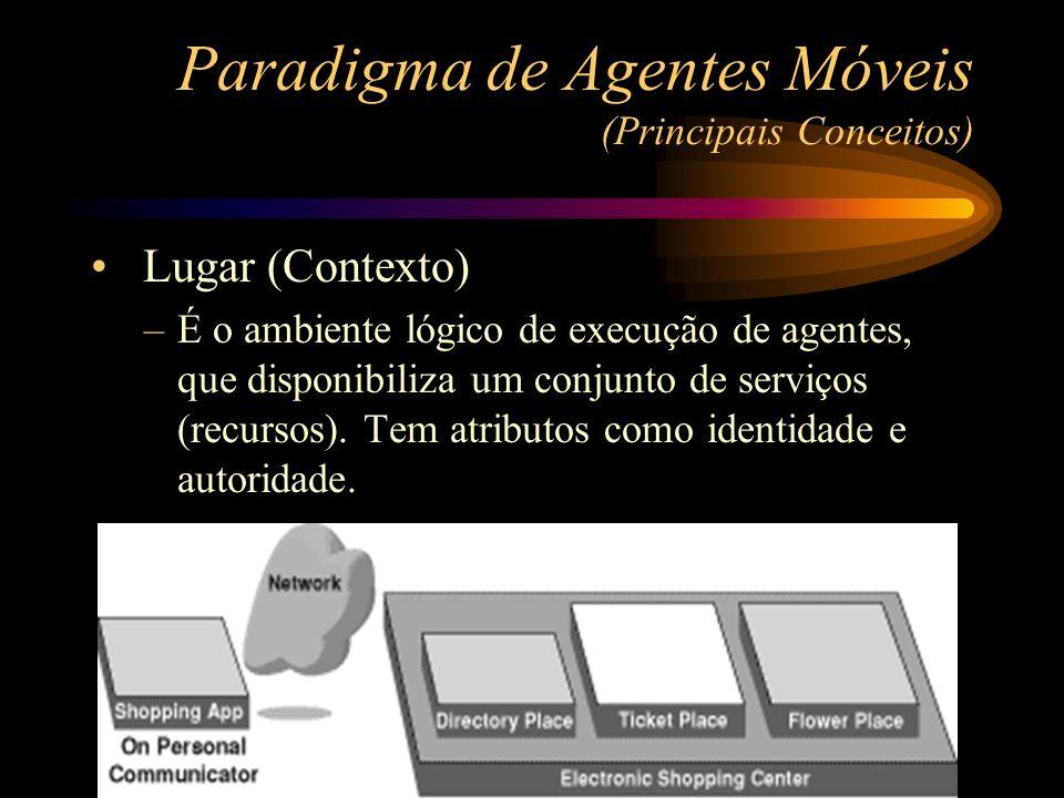 Paradigma de Agentes Móveis (Principais Conceitos) Lugar (Contexto) –É o ambiente lógico de execução de agentes, que disponibiliza um conjunto de serv