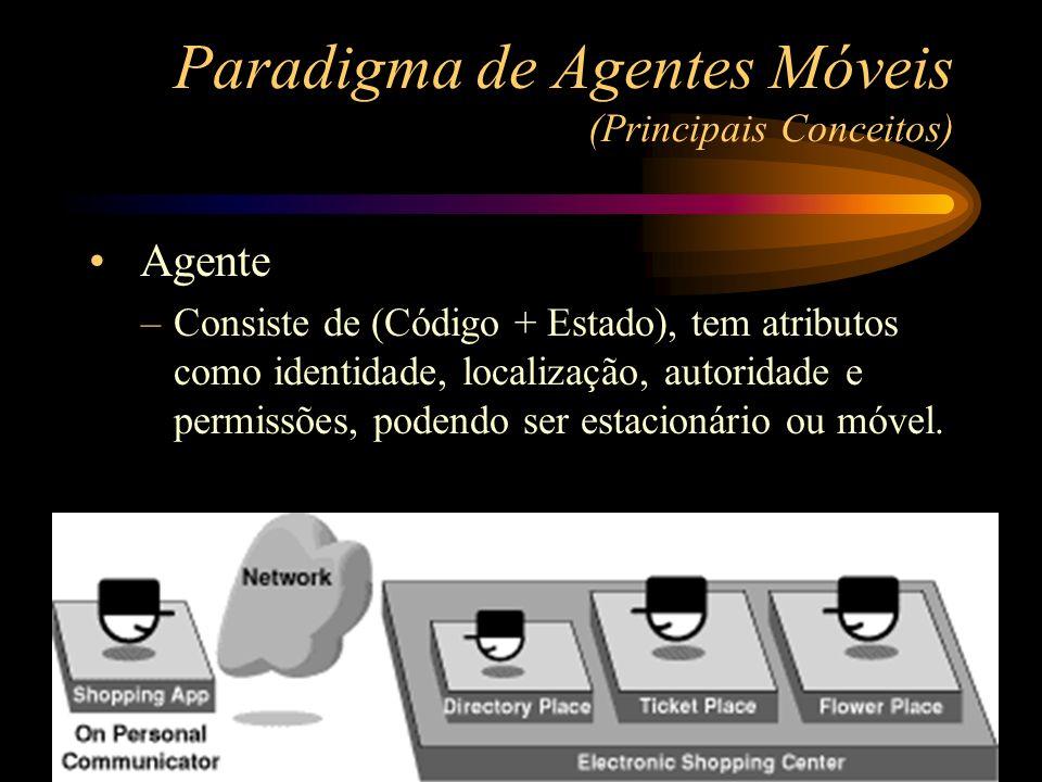 Agente –Consiste de (Código + Estado), tem atributos como identidade, localização, autoridade e permissões, podendo ser estacionário ou móvel. Paradig