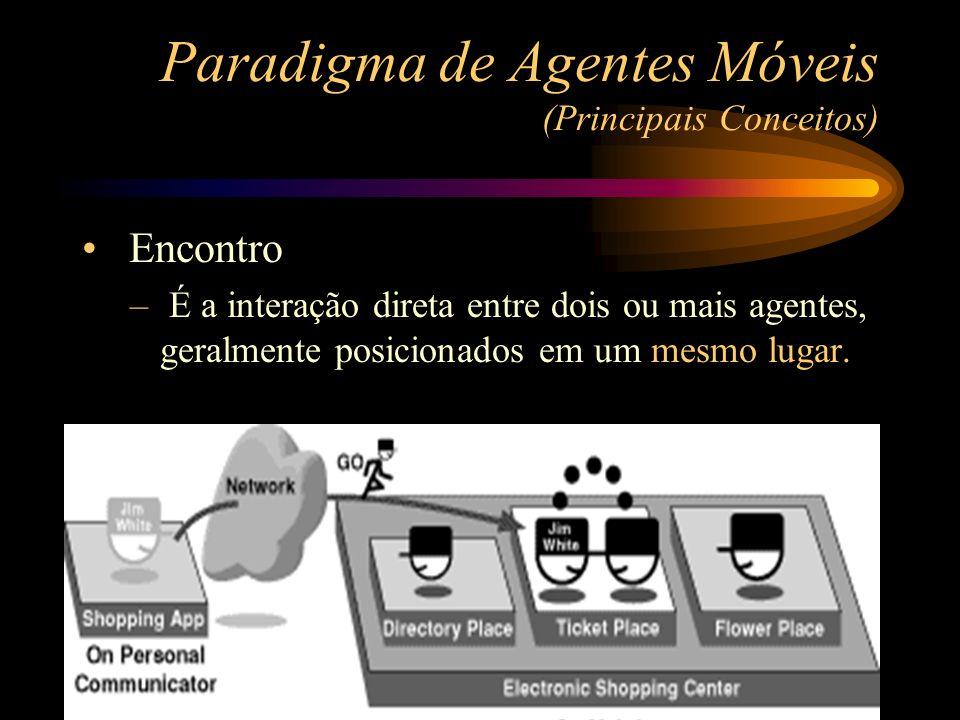 Encontro – É a interação direta entre dois ou mais agentes, geralmente posicionados em um mesmo lugar. Paradigma de Agentes Móveis (Principais Conceit