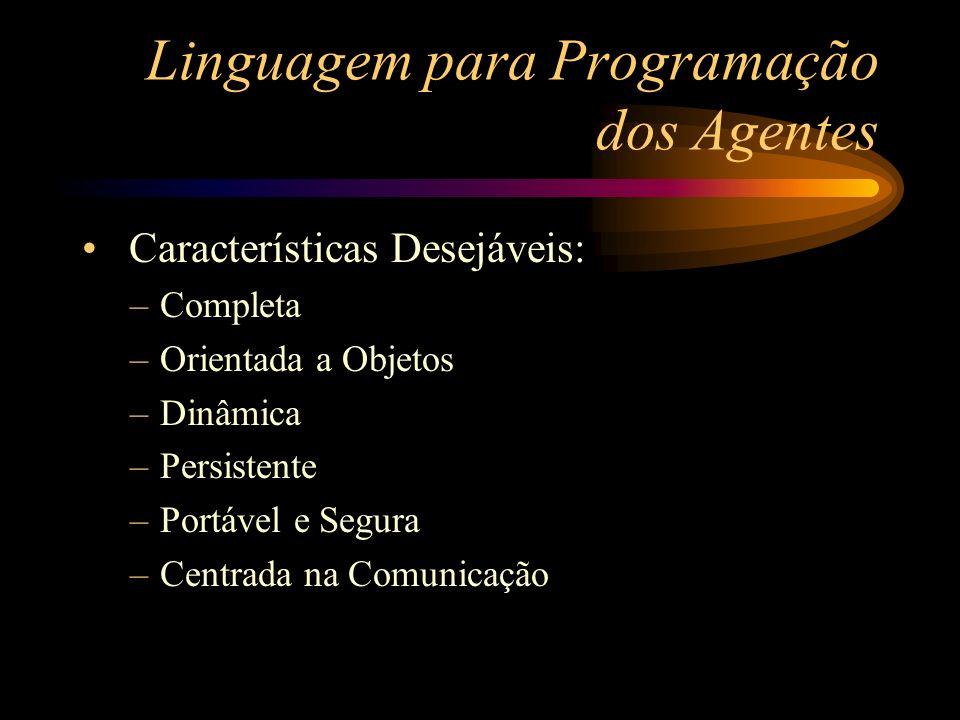 Linguagem para Programação dos Agentes Características Desejáveis: –Completa –Orientada a Objetos –Dinâmica –Persistente –Portável e Segura –Centrada
