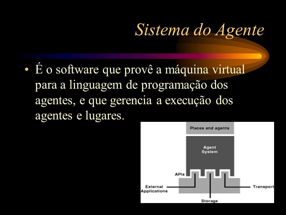 Sistema do Agente É o software que provê a máquina virtual para a linguagem de programação dos agentes, e que gerencia a execução dos agentes e lugare