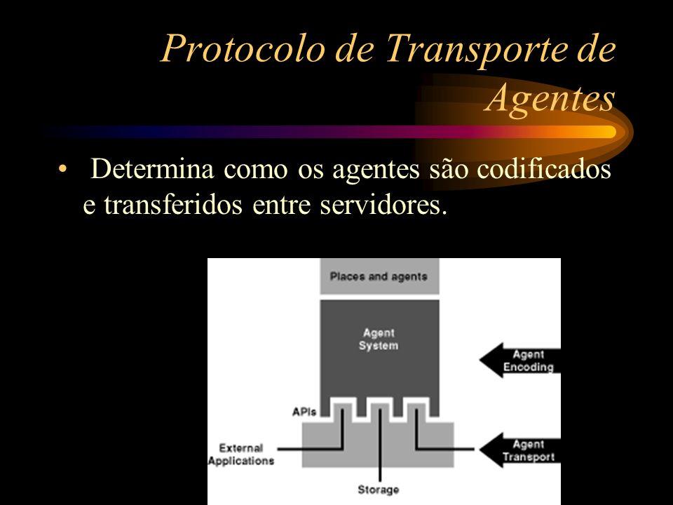 Protocolo de Transporte de Agentes Determina como os agentes são codificados e transferidos entre servidores.