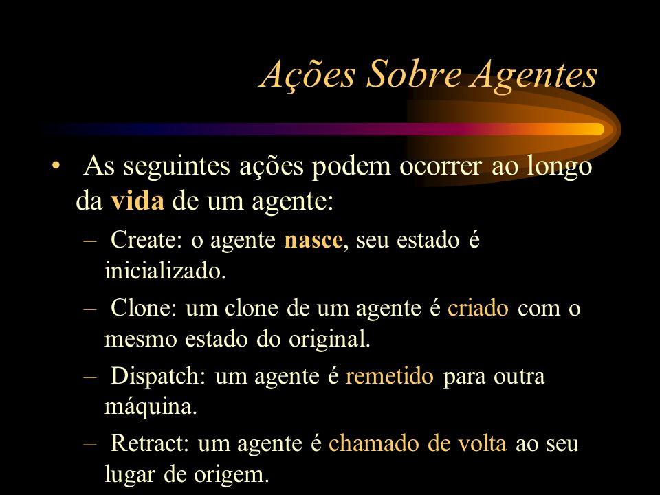 Ações Sobre Agentes As seguintes ações podem ocorrer ao longo da vida de um agente: – Create: o agente nasce, seu estado é inicializado. – Clone: um c
