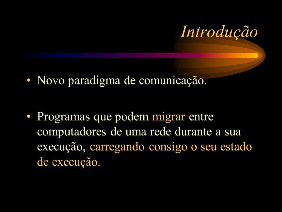 Introdução Novo paradigma de comunicação. Programas que podem migrar entre computadores de uma rede durante a sua execução, carregando consigo o seu e
