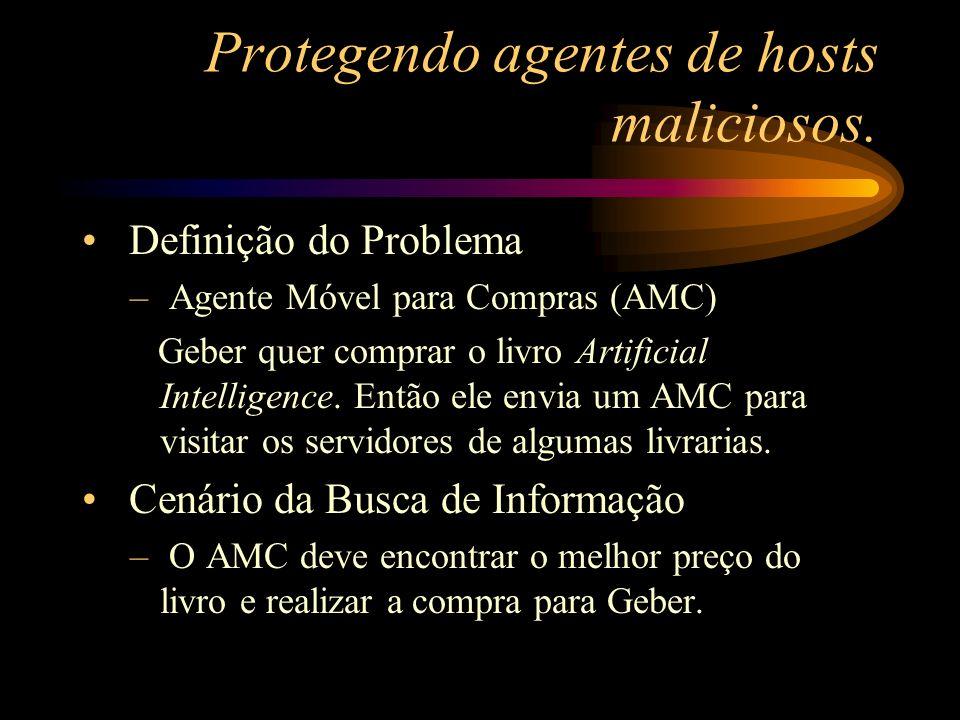 Protegendo agentes de hosts maliciosos. Definição do Problema – Agente Móvel para Compras (AMC) Geber quer comprar o livro Artificial Intelligence. En