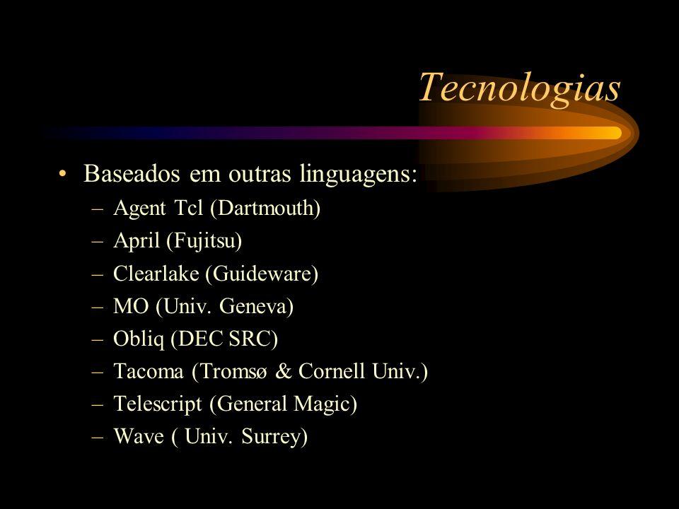 Tecnologias Baseados em outras linguagens: –Agent Tcl (Dartmouth) –April (Fujitsu) –Clearlake (Guideware) –MO (Univ. Geneva) –Obliq (DEC SRC) –Tacoma